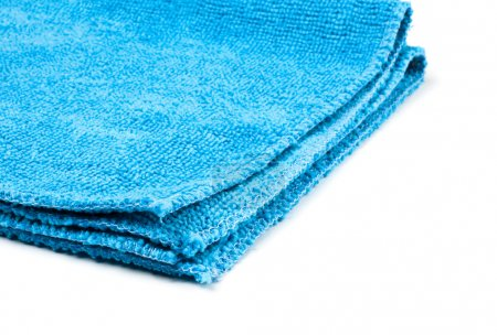 Blue microfiber duster closeup