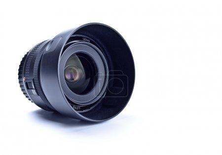 Wide angle lens with hood