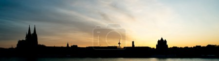 Cologne sunset panorama.