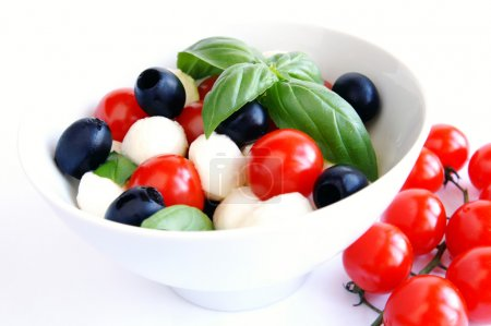 Mozzarella, black olives and tomato sala