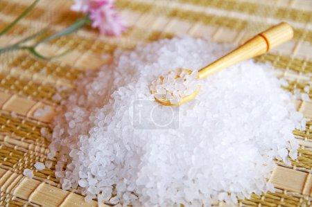 Small pile of sea salt on a table