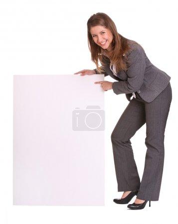 Photo pour Femme d'affaires et carte vide. Isolé . - image libre de droit