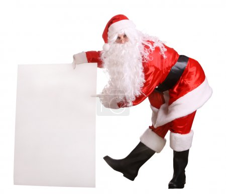 Photo for Santa Claus with empty banner. Isolated. - Royalty Free Image