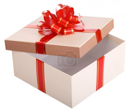 Open empty gift box and red bow.