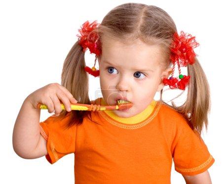 Child girl clean brush teeth.