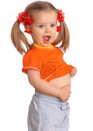 Photo for Baby girl in orange t-shirt.White background. - Royalty Free Image