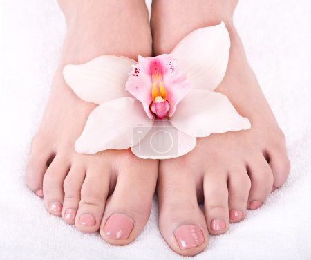 Woman foot with flower lily.