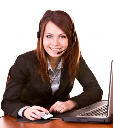 Girl with laptop from support service.