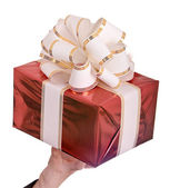 Red gift box and white bow.