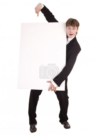 Businessman with white banner look.