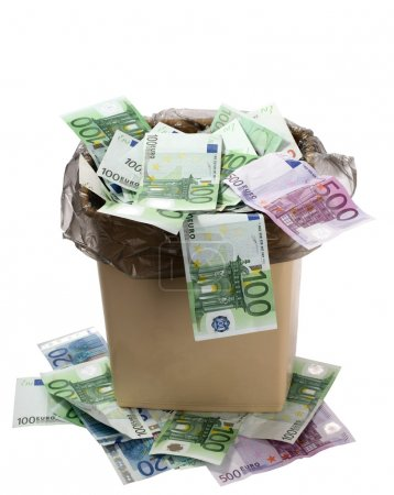 Photo for A money is in a trash bucket. Isolated - Royalty Free Image