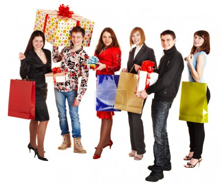 Photo for Group with shopping bag and gift box. Isolated. - Royalty Free Image