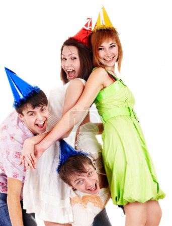 Group of in party hat