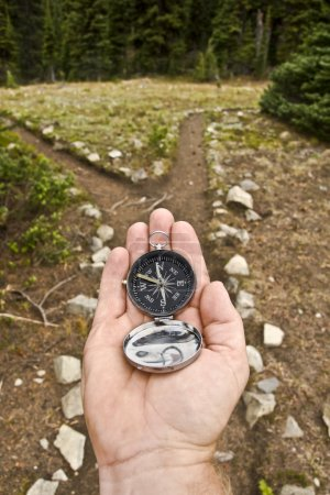 Hand Held compass at Trail Junction