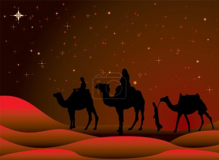 Photo for Traditional christmas scene with camels and a starry sky - Royalty Free Image
