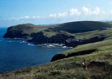 Cornwall Coastal Path with walker