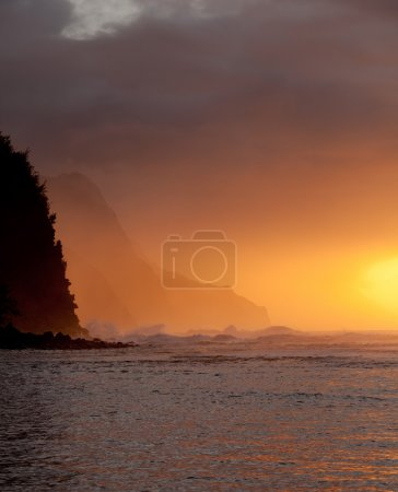 Orange sunset over Na Pali