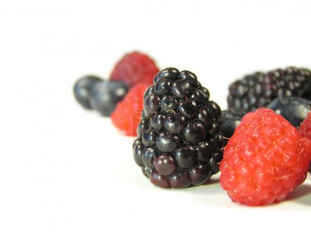 Mixed berries on white