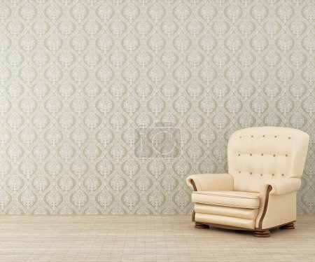 Photo for Lonely light armchair in a room - Royalty Free Image