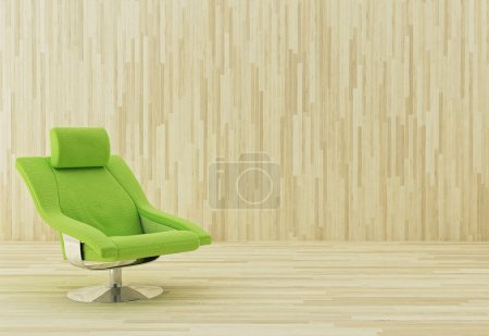 Photo for Green armchair in a wooden room - Royalty Free Image