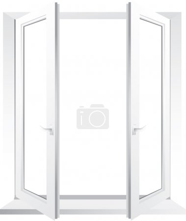 Illustration for Open plastic glass window - vector - Royalty Free Image