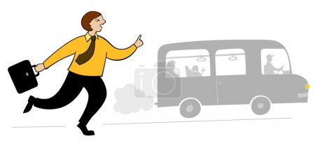 Late passenger and bus