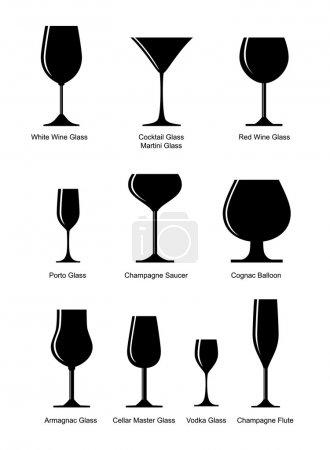 Illustration pour Ensemble vectoriel de verre alcoolisé - image libre de droit
