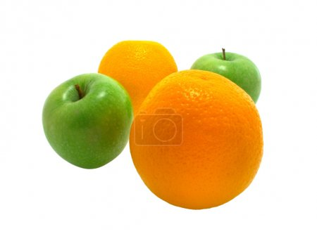 Two apples and two oranges on white