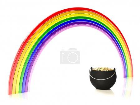 Regenbogen und Topf mit Gold