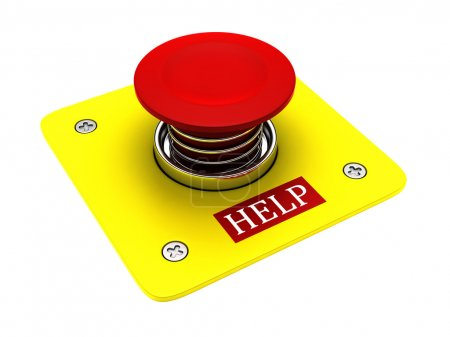 Photo for Red help button isolated on white background - Royalty Free Image