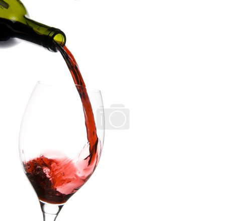 Photo for A clear glass of red wine isolated on white background - Royalty Free Image