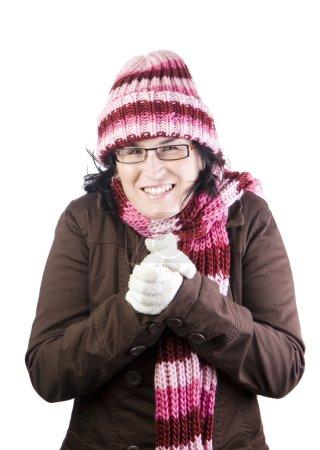 Photo pour Noël fille secouer et frotter à cause de l'hiver - image libre de droit