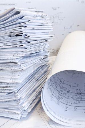 Stack of design drawings