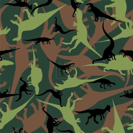 Illustration for Dinosaur camouflage seamless pattern - Royalty Free Image
