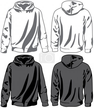 Unisex hoodies. Vector