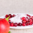 Plate of a cowberry sprinkled with sugar removed c...