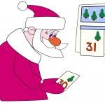 Постер, плакат: Santa klaus tears off a calendar leaf
