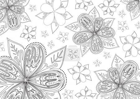 Illustration for Black and white background with floral elements - Royalty Free Image