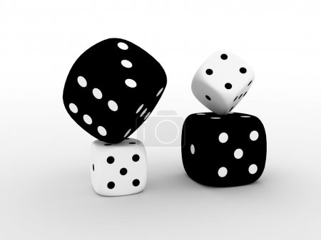Photo for 4 black and white playing boxes isolated - Royalty Free Image