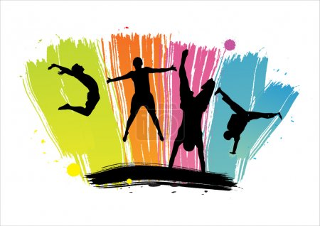 Silhouettes of jumping against color dabs
