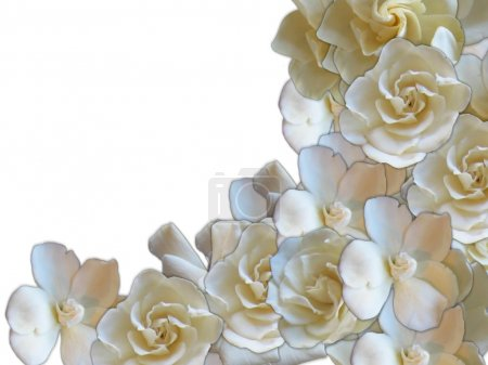 Photo for Romantic flower frame of beige and white roses - Royalty Free Image