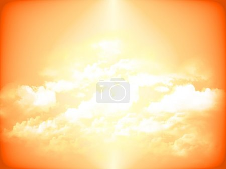 Photo for Orange warm background with clouds pattern - Royalty Free Image
