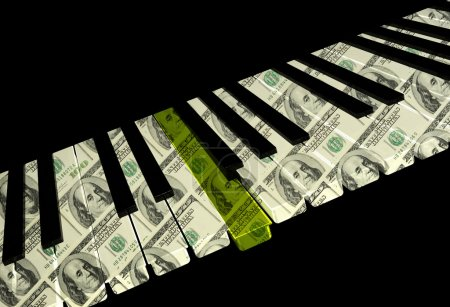 Photo pour Clavier de piano avec la clé d'or sur fond noir. rendu 3D. - image libre de droit