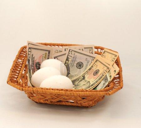 Photo pour Oeufs et argent tous dans le même panier. ne mettez pas tous vos oeufs dans le même panier. - image libre de droit