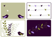 Four birds and leaves designs
