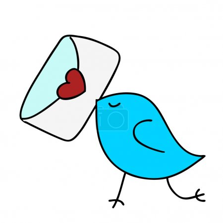 Illustration pour Dessiné de main mignon oiseau tenant un message d'amour. - image libre de droit