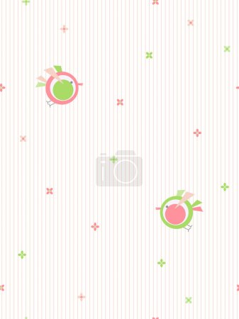 Illustration for Cute baby style seamless pattern with flowers and birds. - Royalty Free Image