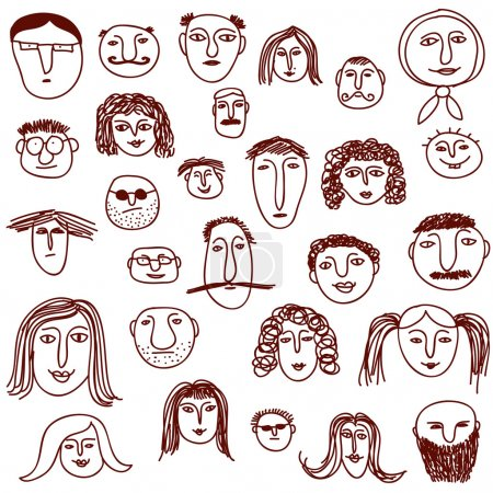 Illustration for Hand drawn faces showing peoples diversity - Royalty Free Image