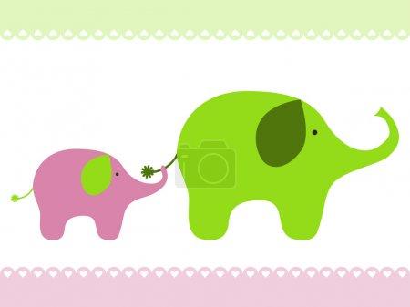 Illustration pour Mignon bébé éléphant et sa mère . - image libre de droit