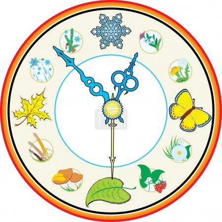 Illustration for Clock four season - Royalty Free Image